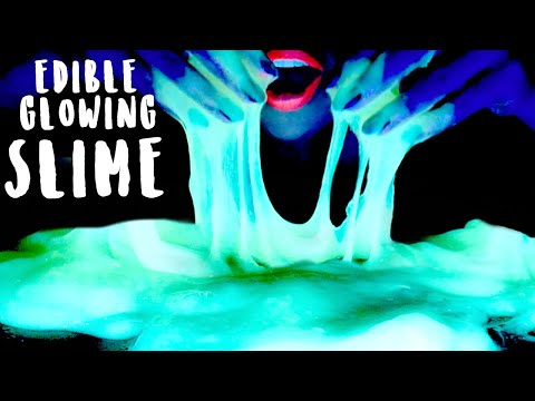 ASMR Glowing Edible Slime | Soft Sticky | Eating Sounds