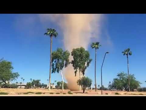 Huge Dust Devil Swirls Through Tempe, Arizona