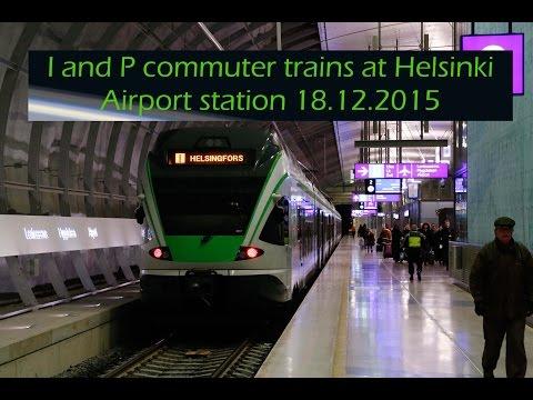 I and P trains at Helsinki Airport station 18.12.2015 [Full ᴴᴰ]