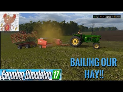 Lets Play Farm Simulator 17 Upper Mississippi River Valley; Bailing Our Hay