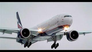 Aeroflot 2x B777 300 landing taxi atc SVO 25R Аэрофлот посадка Шереметьево Боинг 777(На самом деле здесь целых шесть топоров а не три, два бобика приземлились один за другим, один из Бангкока,..., 2014-12-15T00:21:43.000Z)
