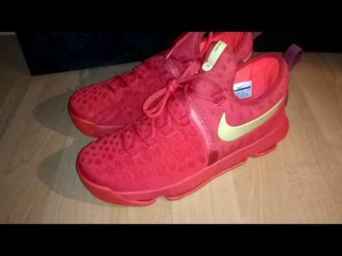 e044c317 Баскетбольные кроссовки Nike KD 9 Red Gold магазин Basket Family - YouTube