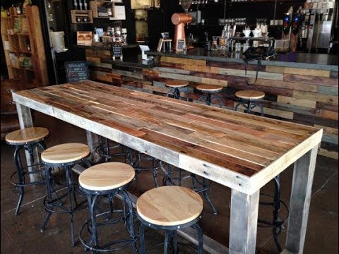 Industrial Counter Table With Wooden Top