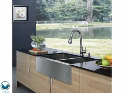 Vigo VG3320BL 33 Inch Farmhouse 16 Gauge Double Bowl Kitchen Sink