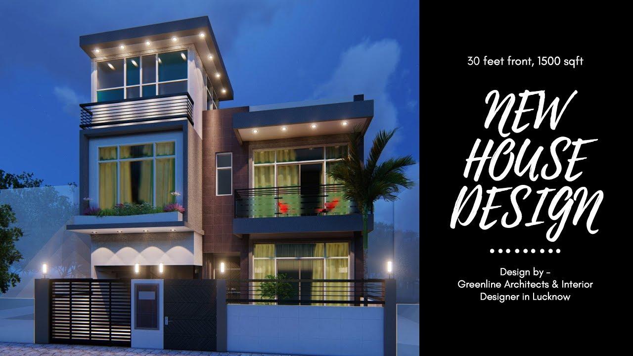 30 feet Front, House Exterior Facade Design, 3D-Video Walk-through