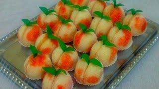 Персики пирожное с начинкой из вареной сгущенки с орешками