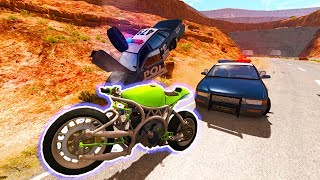 BeamNG Drive - SPORTS BIKE MOTORCYCLE POLICE CHASES AND CRASHES!