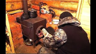 Один в тайгу в мороз. Топим печь, запасаемся дровами.