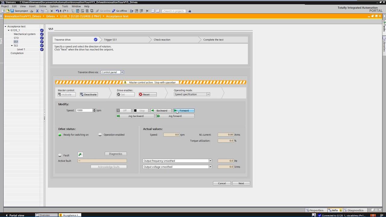 SINAMICS Startdrive: Safety Integrated Abnahmetest