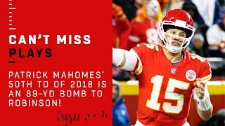 Patrick Mahomes' 50th TD of 2018 is an 89-Yd Bomb to Demarcus Robinson!