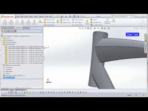 DSID129, Solidworks Project 8-6, Bicycle Frame - Separating the Bodies