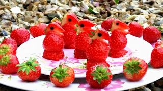 How to Make Strawberry Penguins | Strawberry Art | Fruit Carvings Strawberry Garnishes