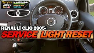 Renault Clio Service Light Reset 2005-2012