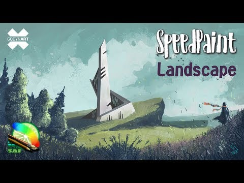 Paint Tool Sai 2 – How to draw landscape / Как нарисовать пейзаж