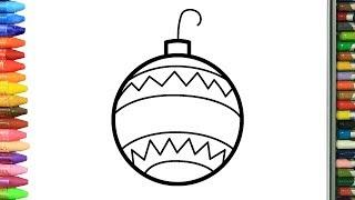 Pagina di colorazione decorazioni natalizie   Come disegnare e colora per i bambini