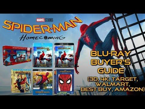 SPIDERMAN HOMECOMING BLURAY UNBOXING (3D, 4K, AMAZON, TARGET, WALMART, BEST BUY) BLURAY BUYERS GUIDE