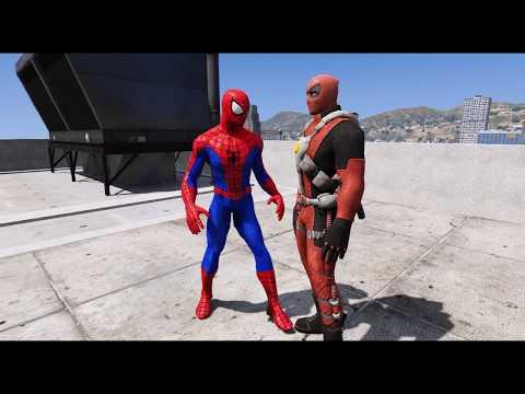 SPIDER-MAN VS VENOMPOOL - Super Hero Street Fight [GTA 5]