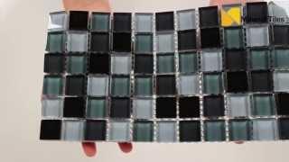 Glass Mosaic Tile Backsplash Charcoal Blend 1x1- 101CHIGLABR208