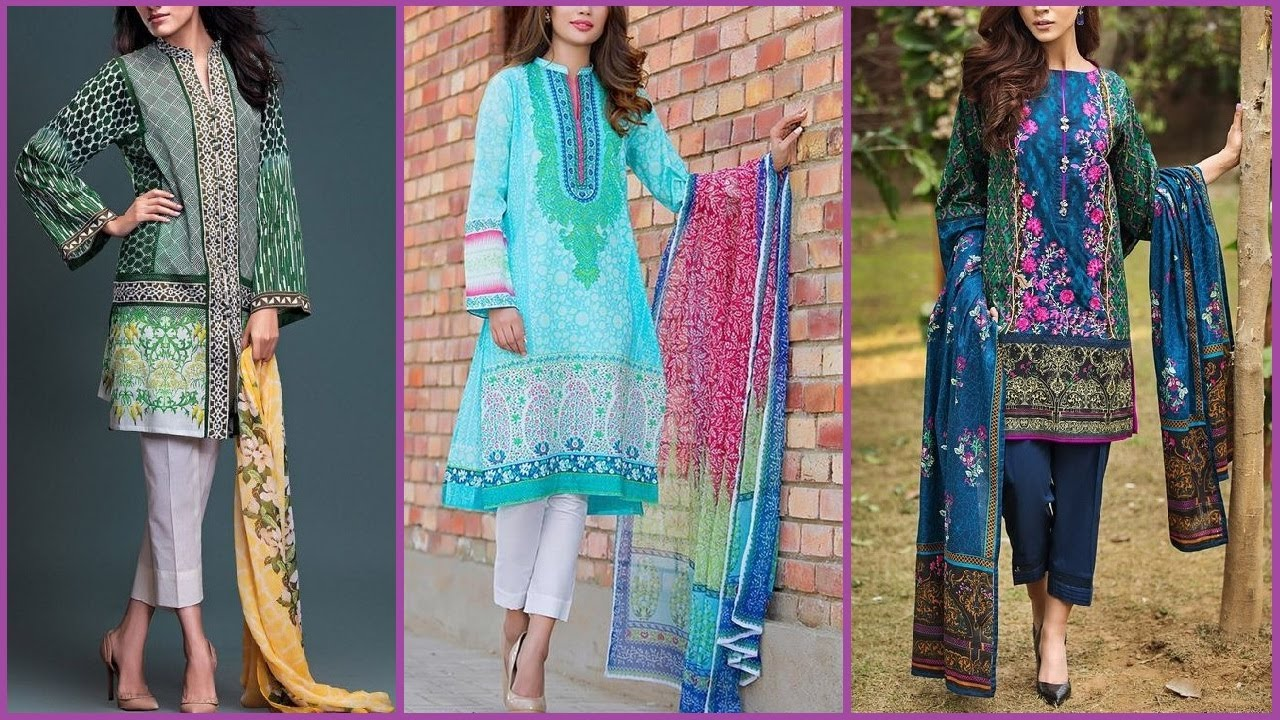 Latest New Stylish 3 piece Lawn suit / Dresses for summer 2017 for ...