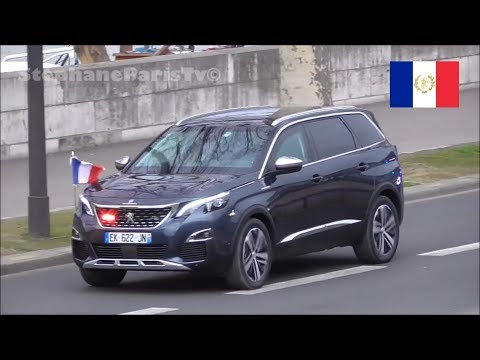 motorcade of the French President with a Peugeot 5008
