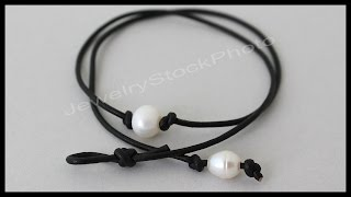 Single Pearl Leather CHOKER - Knotted / Floating Pearl on Cord - Step by Step DIY Tutorial # 998