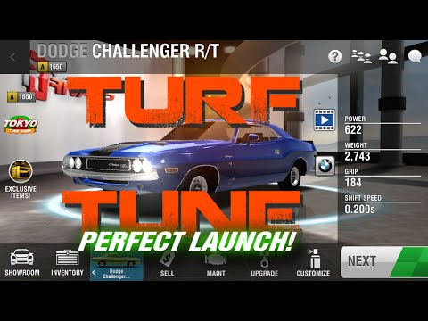 Racing Rivals TURF TUNE 1650 Dodge Challenger R/T Perfect Launch Tutorial
