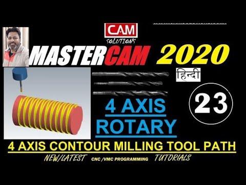 MASTERCAM 4 Axis Programming Rotary Contour Milling Tool path day 23 thumbnail