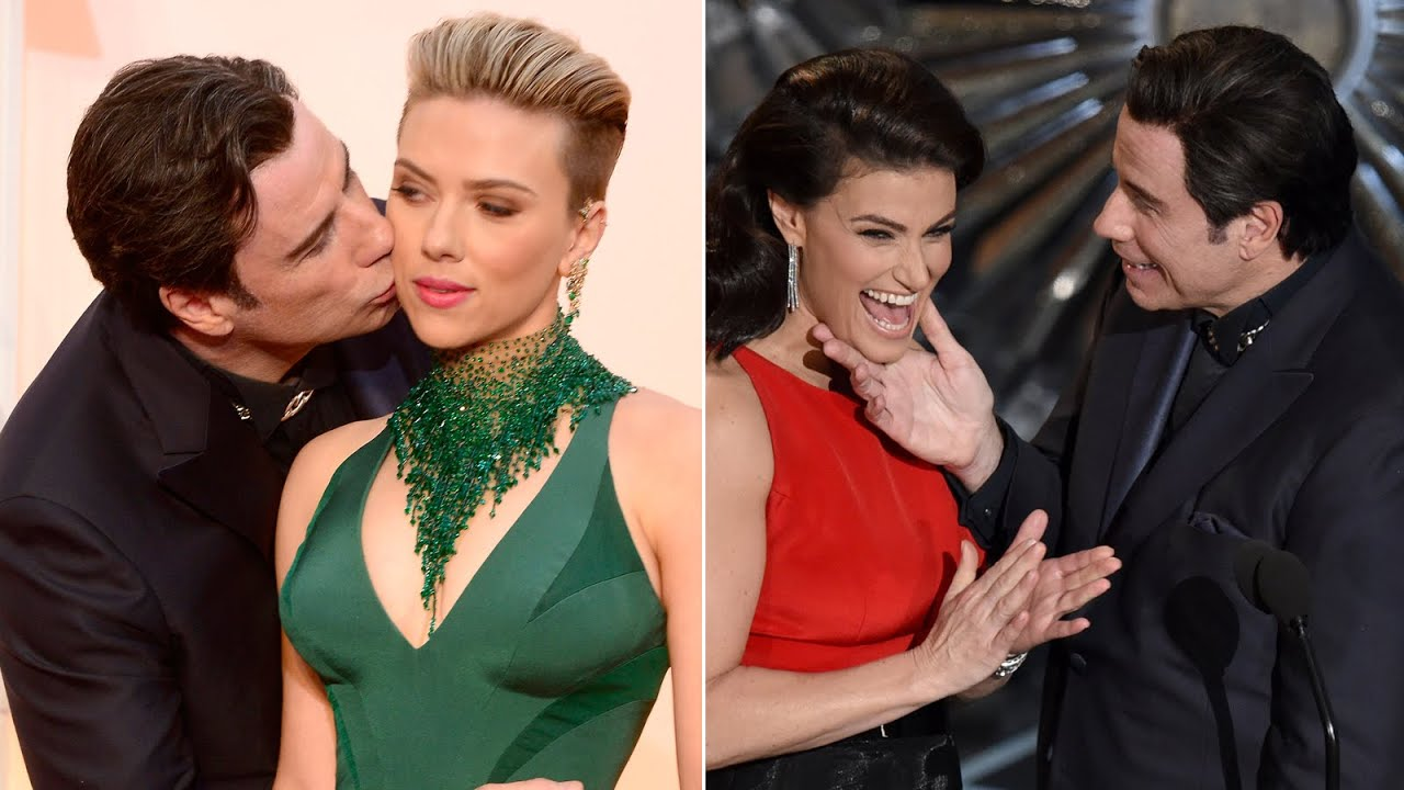 John Travolta gets awkward with Scarlett Johansson, Idina ...