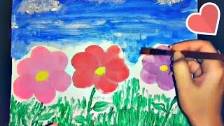 Easy Flower Painting Using Beauty Sponge And Q-Tips  *Beginner Friendly*
