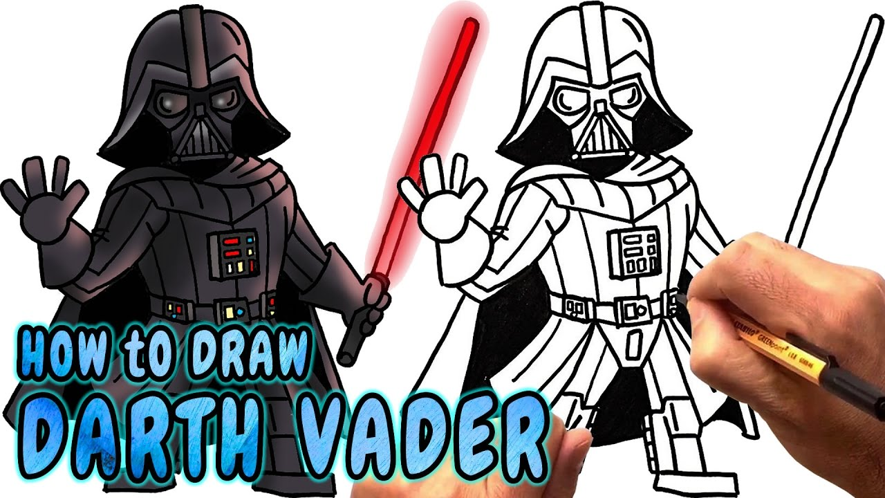 How to draw a Darth Vader from Star Wars in stages 48