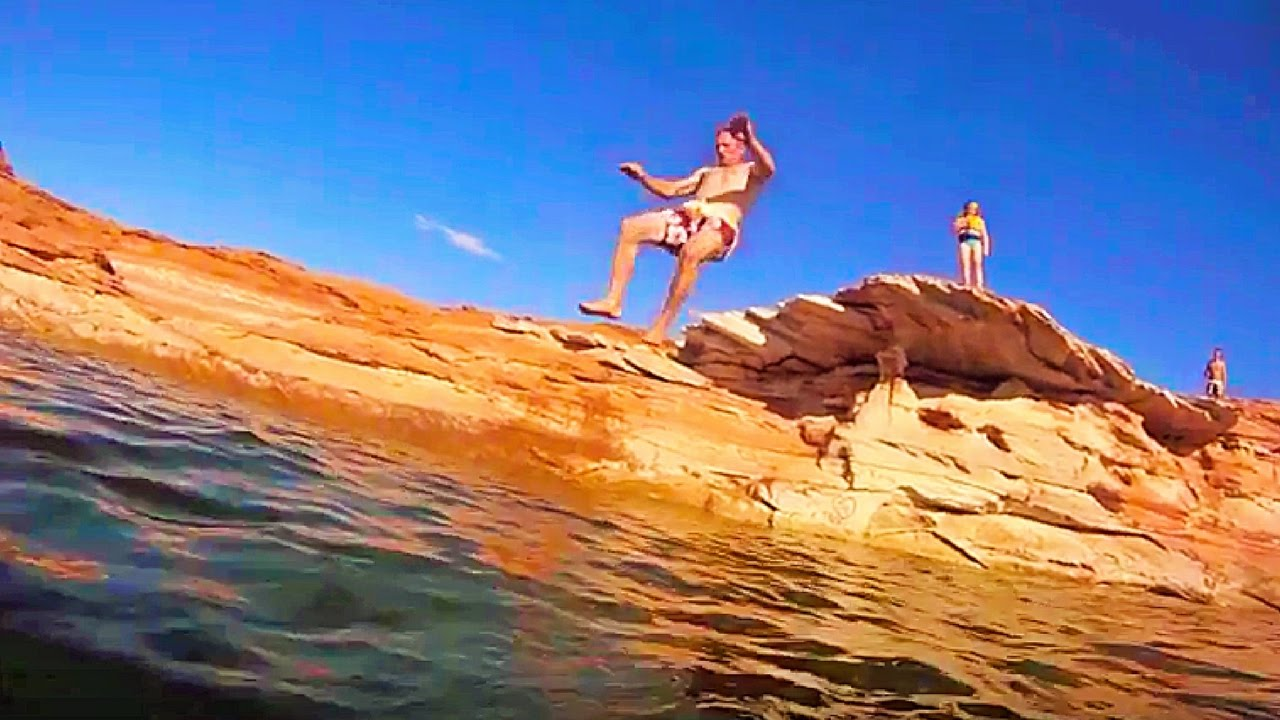Swimming and Cliff Diving at Lake Powell near Page, AZ