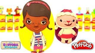 Ovos Surpresas da Doutora Brinquedos e Lambie em Português de Massinha Play Doh