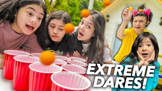 SIBLINGS DARE PONG!! (Mayonnaise Toothbrush haha!) | Ranz and niana