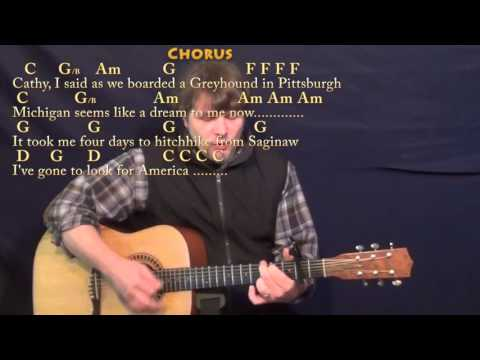 America (Simon & Garfunkel) Strum Guitar Cover Lesson with Chords/Lyrics