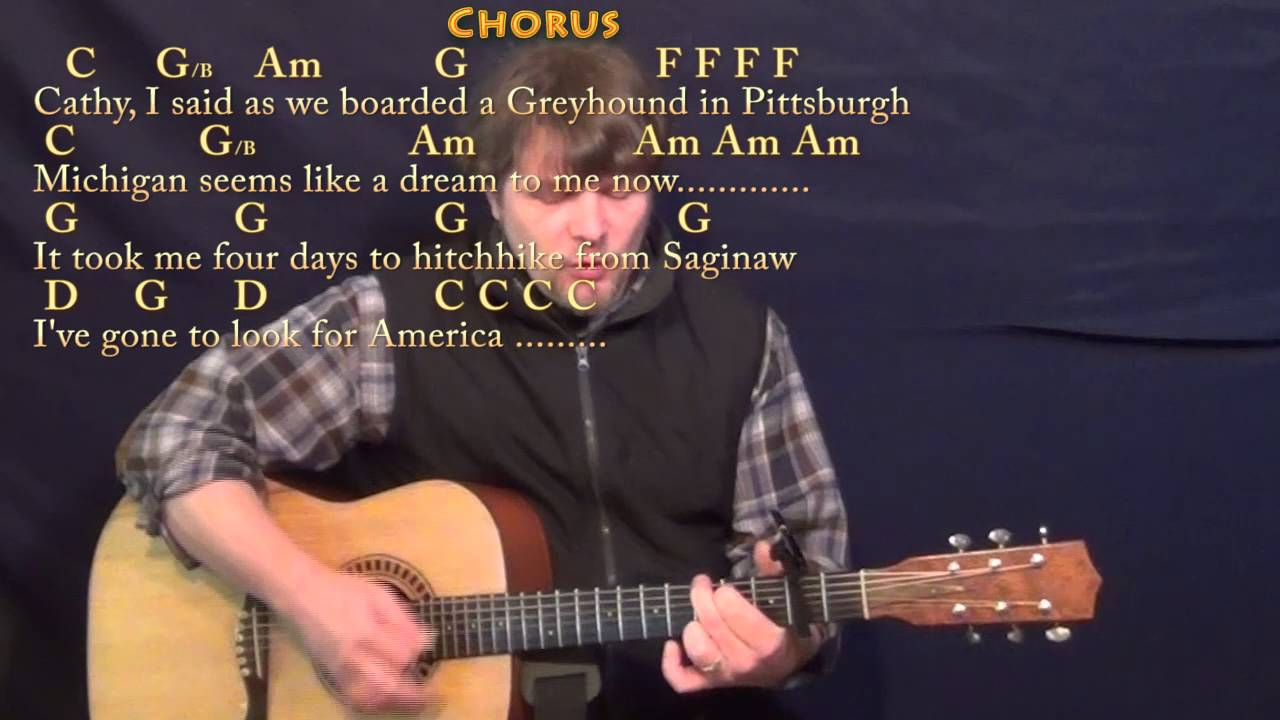 America Simon & Garfunkel Strum Guitar Cover Lesson with Chords/Lyrics