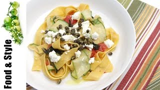Pappardelle With Zucchini Ribbons (zucchini Noodles) And Fried Capers