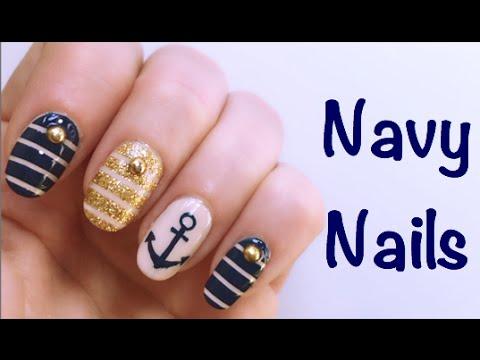 navy nails nail art tutorial