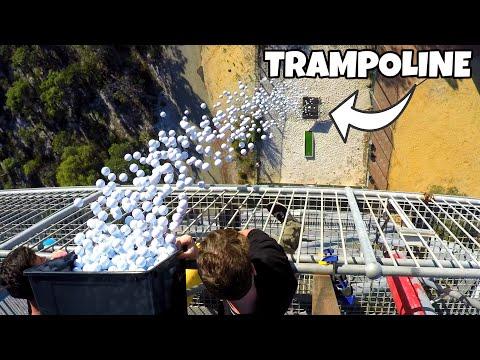 1700 GOLF BALLS VS. TRAMPOLINE from 45m!