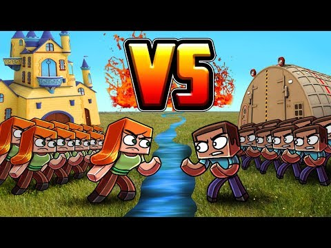 Minecraft | STEVE ARMY VS ALEX ARMY! (Massive Mob Battles)