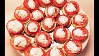 Закуска из кабачков с чесноком и с помидорами #кабачки #кабачок
