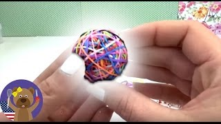 Loom bands bouncy ball easy - 3D Rainbow Ball Rainbow Loom tutorial