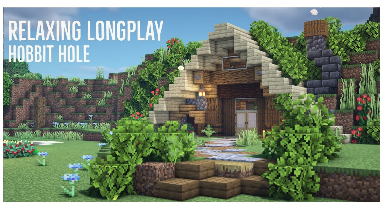 Minecraft Relaxing Longplay - Building a Hobbit Hole Starter House (no commentary)
