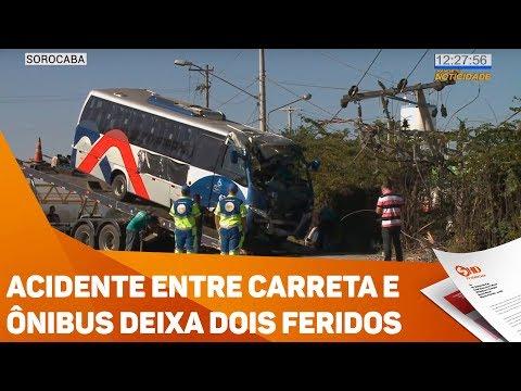 Acidente entre carreta e ônibus deixa dois feridos - TV SOROCABA/SBT