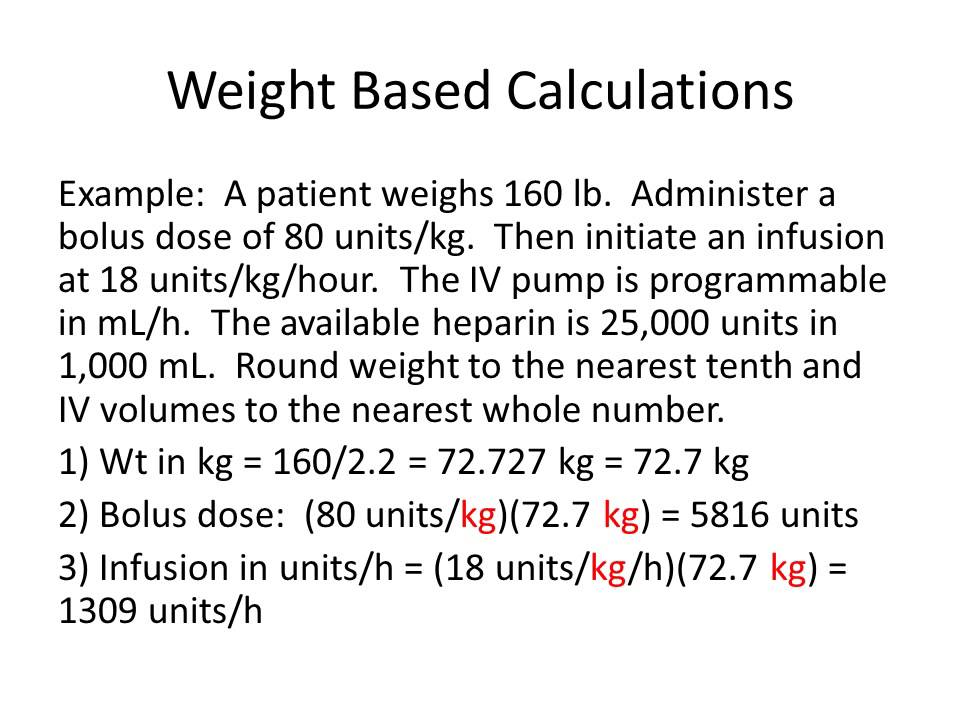 Heparin bolus dose calculator.