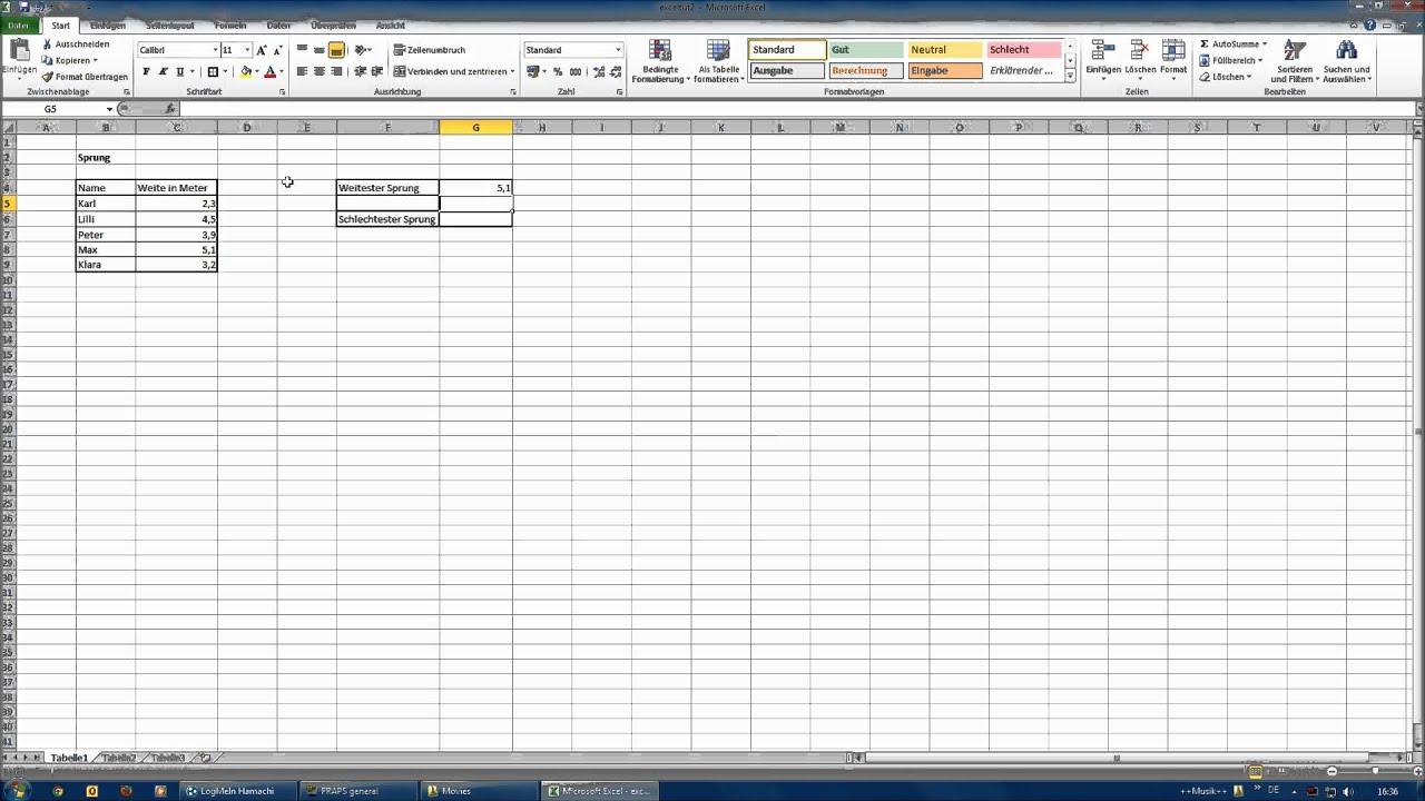 Kkleinste Excel