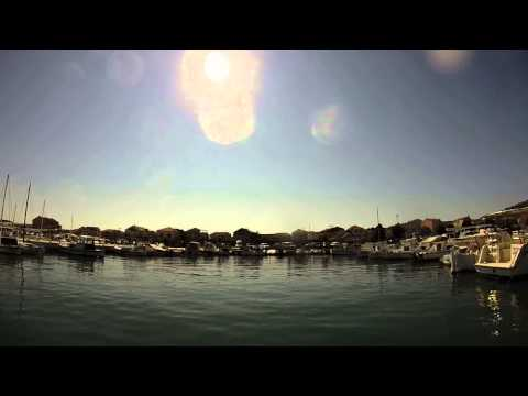 Croatia vacation harbor trun around and to the berth/mooring
