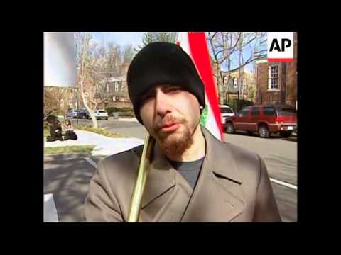 Lebanese Americans protest outside Syrian Embassy