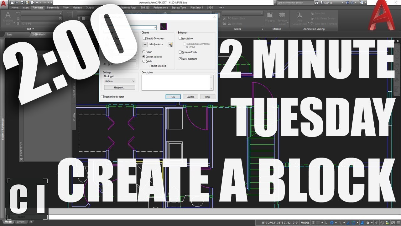 AutoCAD Block Tutorial: How to Make a Block Quick and Easy! - 2 Minute  Tuesday