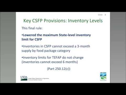 CSFP & TEFAP Regulatory Update