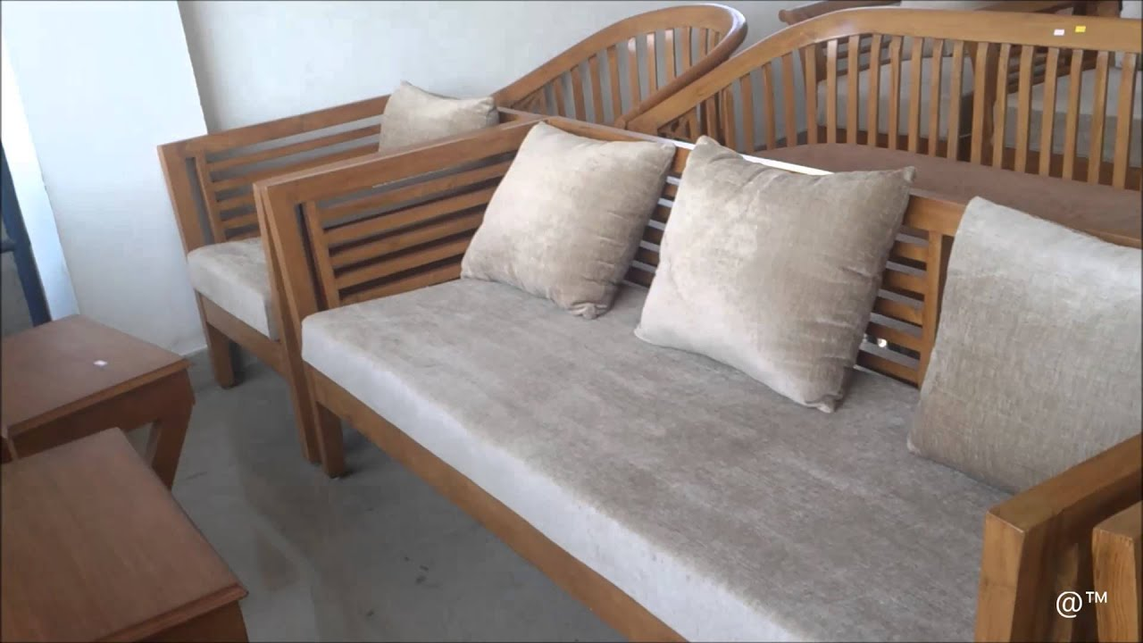 Teak Wood Sofa Set with Square Design